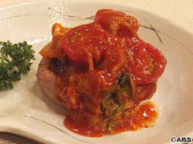 イカバーグのトマトキムチソース