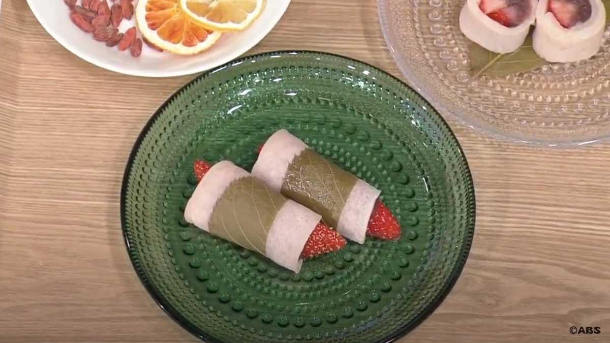 おうちで簡単いちご桜餅