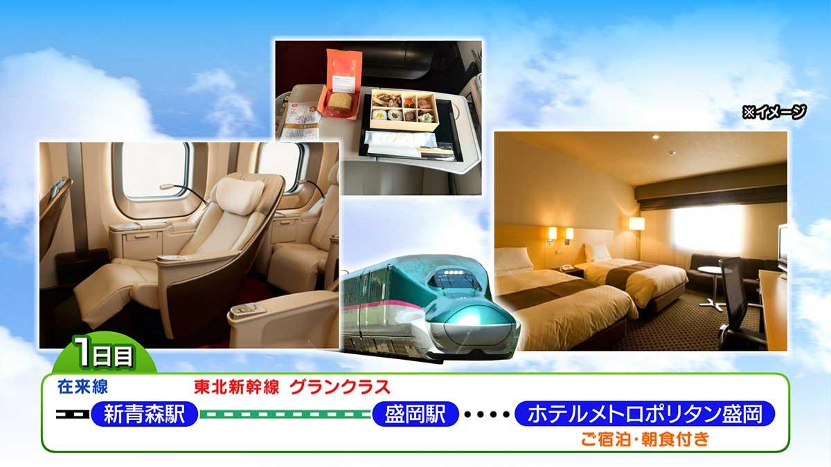 東北新幹線グランクラス&リゾートしらかみ人気列車の旅 旅程