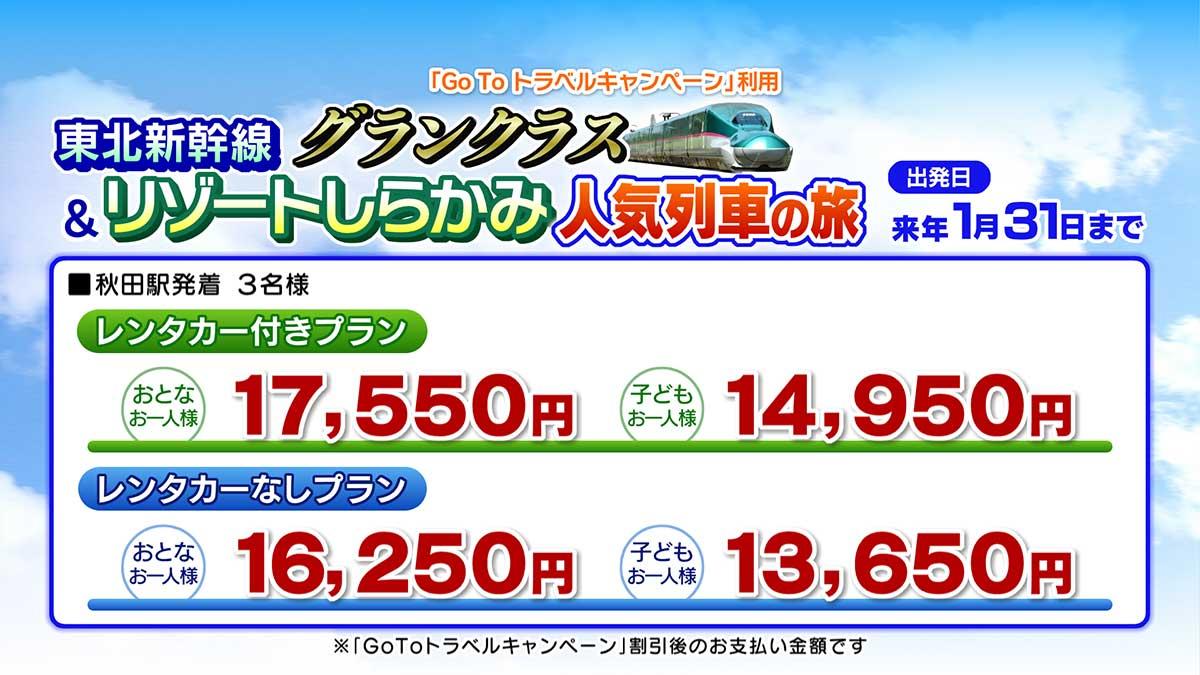 東北新幹線グランクラス&リゾートしらかみ人気列車の旅 料金表